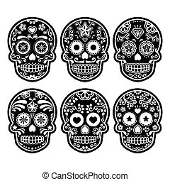 Mexican sugar skull - Vector icon set of decorated skull -...