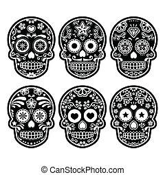 Mexican sugar skull - Vector icon set of decorated skull -...