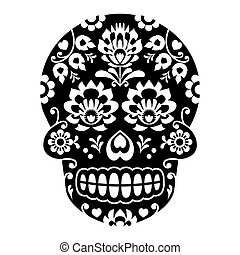 Mexican sugar skull, Halloween skull with flowers - Polish...