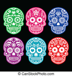 Mexican sugar skull icons - Vector icon set of decorated...