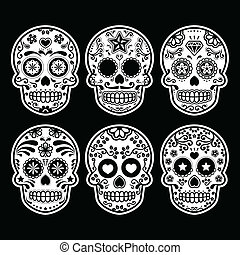 Mexican sugar skull icons - Vector icon set of decorated ...