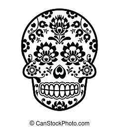 Mexican sugar skull Polish folk art