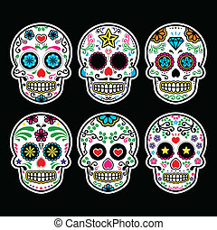 Mexican sugar skull - Vector icon set of decorated skull - ...