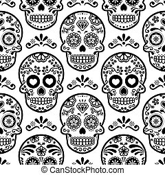Mexican sugar skull vector seamless pattern, Halloween candy...