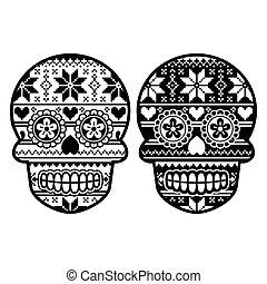 Mexican sugar skull- winter pattern