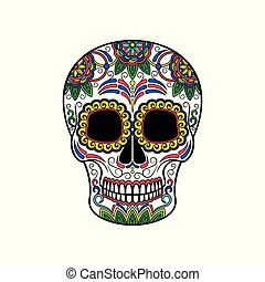 Mexican sugar skull with floral pattern, Day of the death vector Illustration