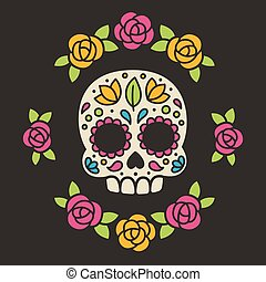 Mexican sugar skull with flowers. - Mexican Dia de los...