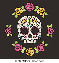 Mexican sugar skull with flowers. - Mexican Dia de los...