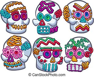 Mexican sugar skulls. Vector clip art illustration with...