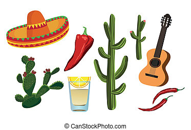 Mexican Symbols - Illustrations of Mexican symbols on white...