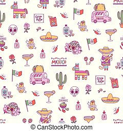 Mexican symbols seamless pattern