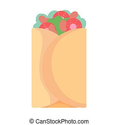 mexican taco fast food cartoon icon style design
