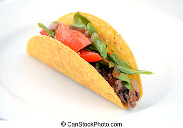 Mexican taco served on a white plate in Homemade Mexican...