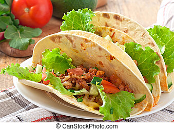 Mexican tacos with meat