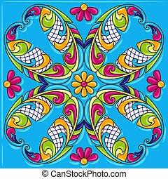 Mexican talavera ceramic tile pattern. Traditional...