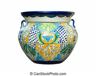 Mexican Talavera Pot - Colorful traditional Mexican Talavera...