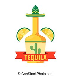 Mexican tequila bar vector icon template of bottle in sombrero