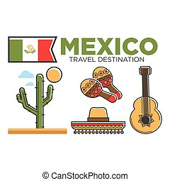 Mexican tourist travel attractions and Mexico traditional culture vector symbols set