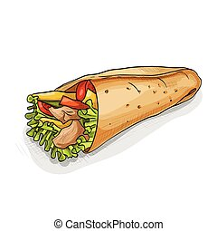 Burrito color picture sticker - Mexican traditional food ...