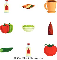 Mexican traditional food icon set, cartoon style