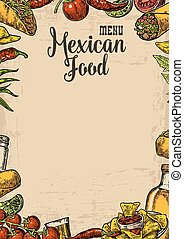 Mexican traditional food restaurant menu template with traditional spicy dish. burrito, tacos, chili, tomato, nachos, tequila, lime. Vector vintage engraved illustration on beige old paper texture  background.