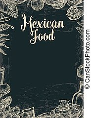 Mexican traditional food restaurant menu template with traditional spicy dish. burrito, tacos, chili, tomato, nachos, tequila, lime. Vector vintage engraved illustration Isolated on dark background
