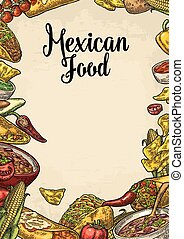 Mexican traditional food restaurant menu template with ingredient