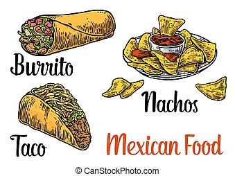Mexican traditional food set burrito, tacos, chili, tomato,...