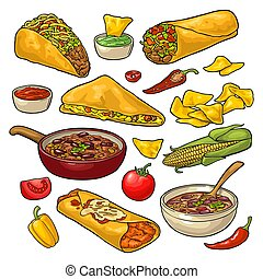 Mexican traditional food set with Guacamole, Enchilada, Burrito, Tacos, Nachos