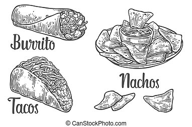 Mexican traditional food set with text message, burrito, tacos, chili, tomato, nachos. Vector vintage engraved illustration for menu, poster, web. Isolated on white background.