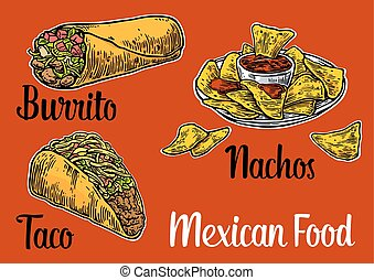 Mexican traditional food set with text message, burrito, tacos, chili, tomato, nachos. Vector vintage engraved illustration for menu, poster, web. Isolated on red background.