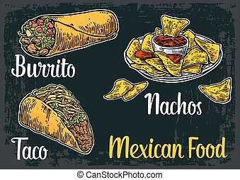 Mexican traditional food set with text message, burrito, tacos, chili, tomato, nachos. Vector vintage engraved illustration for menu, poster, web. Isolated on dark background.