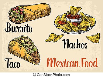 Mexican traditional food set with text message, burrito, tacos, chili, tomato, nachos. Vector vintage engraved illustration for menu, poster, web. Isolated on beige background.
