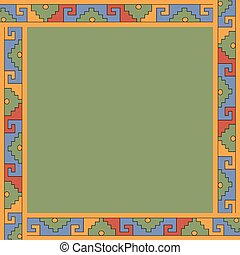 Mexican traditional ornament. Square frame with geometric ornament.