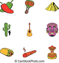 Mexican travel icons set, cartoon style