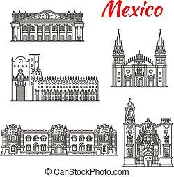 Mexican travel landmark of Guadalajara and Guanajuato tourist sights thin line icon set. La Valenciana Church, Degollado Theater and Guadalajara Cathedral, Government Palace and Guanajuato University