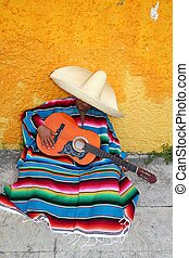 Mexican typical lazy man sombrero hat guitar serape nap...