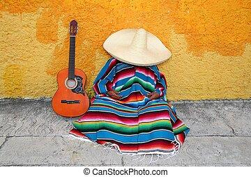 Mexican typical lazy man sombrero hat guitar serape nap...