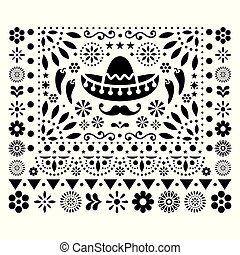 Mexican vector floral design with sombrero, chili peppers and flowers, happy ornament - greeting card on invitation pattern in black and white