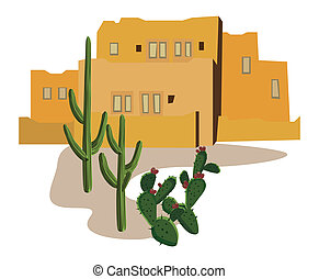 A Mexican urban scene with buildings and cactus