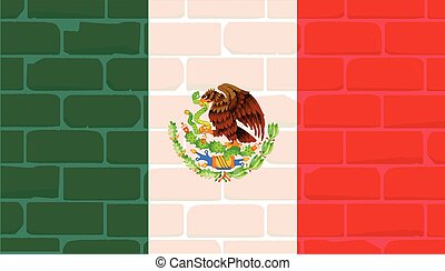Mexican Wall And Flag