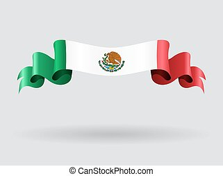 Mexican wavy flag illustration. - Mexican flag wavy abstract...