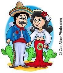 Mexican wedding couple - color illustration.