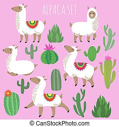Mexican white alpaca lamas and desert plants vector set