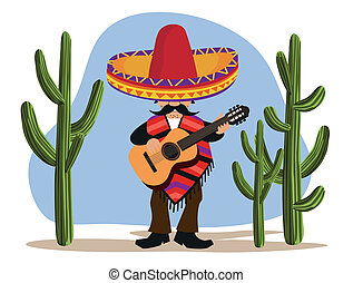 Mexican with Guitar - A Mexican playing guitar in the desert...