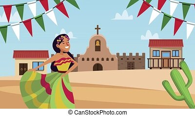 mexican woman dancing in the village ,4k video animated