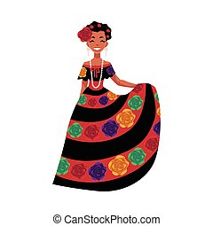 Mexican woman in traditional national dress decorated with...