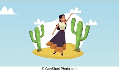 mexican woman singing in desert ,4k video animated