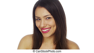 Mexican woman smiling and looking at camera