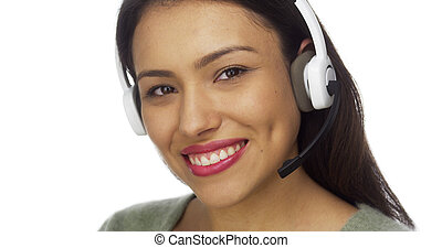 Mexican woman telemarketer smiling
